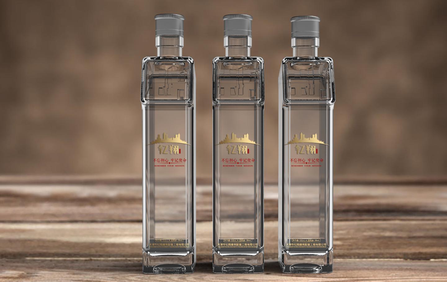 钇翔建筑白酒瓶形包装设计